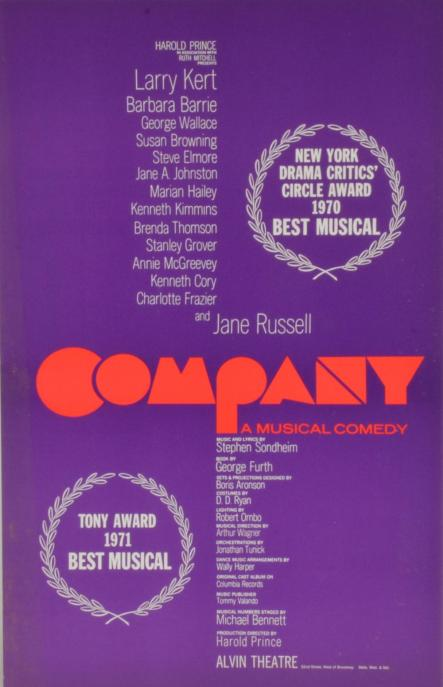 A poster for the original run of Company. In the center the word Company: A musical comedy is in red, with a list of the cast running above, and the list of the crew running below.