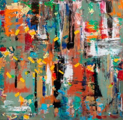 John Rozelle, b. 1944, Untitled, Acrylic on canvas, 36-1/2 x 36-1/2 inches