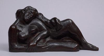Selma Burke, 1900 - 1995, Reclining Nude, Bronze with dark brown patina, 13 x 5 x 5-3/4 inches