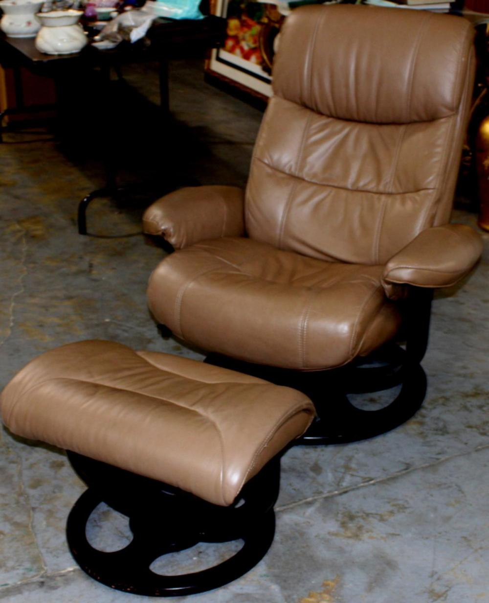 Sold Price Mid Century Modern Leather Recliner Chair With Matching Footstool Invalid Date Pdt