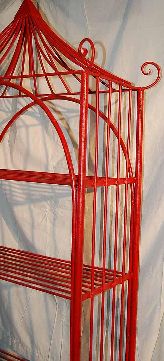 lot vintage red lacquer iron bakers rack