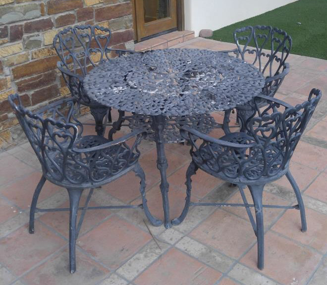 lot cast iron patio table chair