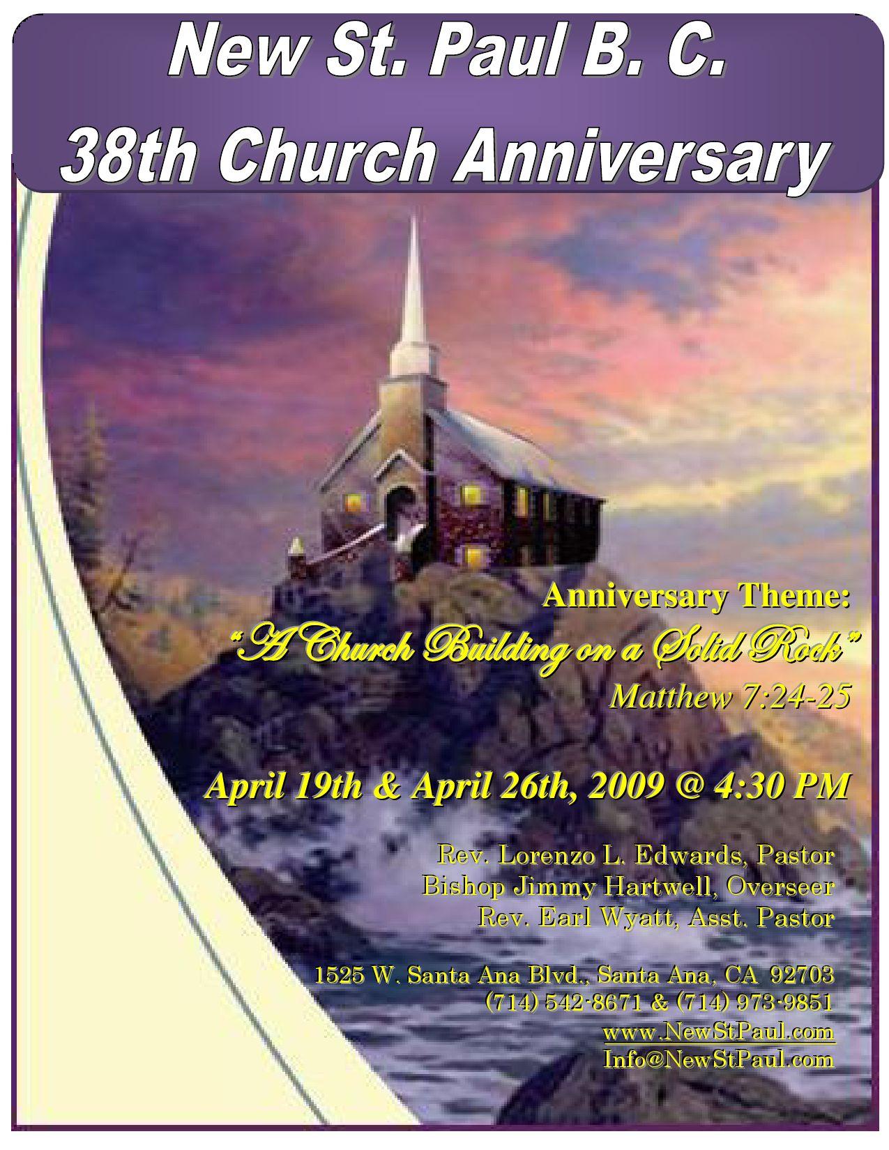 Church Anniversary Themes Church