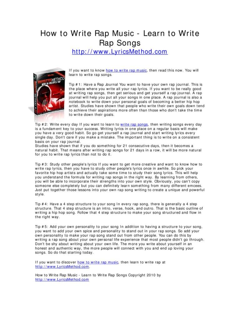 How to Write Rap Music - How to Write Rap Lyrics by Mike ...