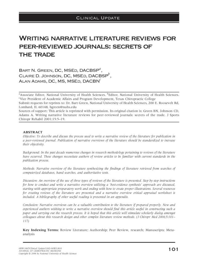 Writing narrative literature reviews by Remy THEMVAC - issuu