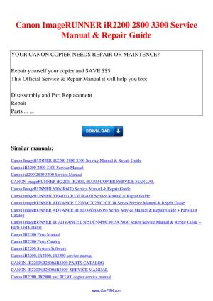 Canon ImageRUNNER iR2200 2800 3300 Service Manual Repair