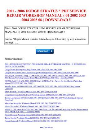 2001 2006 DODGE STRATUS SERVICE REPAIR WORKSHOP MANUAL 01
