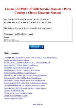 Canon LBP2900 LBP3000 Service Manual Parts Catalog Circuit Diagram Manual by Nana Hong  Issuu