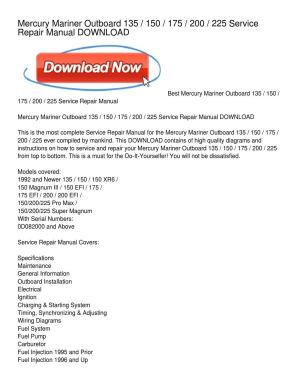 Mercury Mariner Outboard 135 _ 150 _ 175 _ 200 _ 225