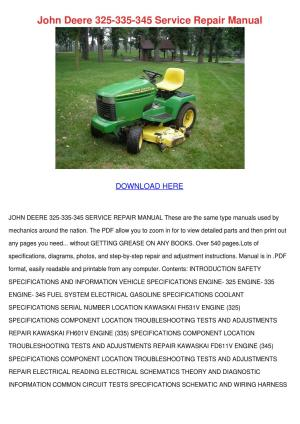 John Deere 325 335 345 Service Repair Manual by Kari Mabey  Issuu