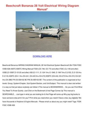 Beechcraft Bonanza 28 Volt Electrical Wiring by Wan