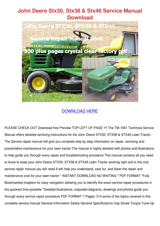 john deere stx38 service manual download