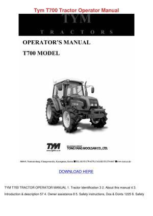 Tym T700 Tractor Operator Manual by Sheryll Dornak  Issuu