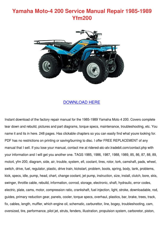 Parts 200 Moto 1987 Yamaha 4