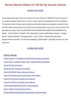 Service Manual Hitachi Cv 790 Bs Pg Vacuum Cl by Roseline Locket  Issuu