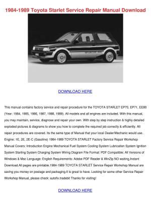 1984 1989 Toyota Starlet Service Repair Manua by JuanitaHarding  Issuu