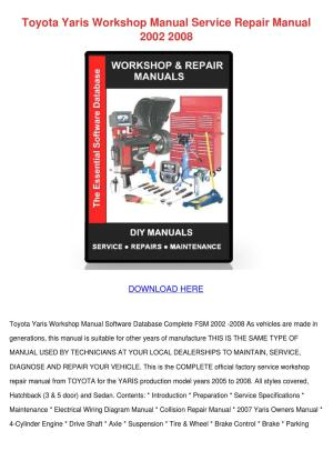 Toyota Yaris Workshop Manual Service Repair M by SusanneSingleton  Issuu