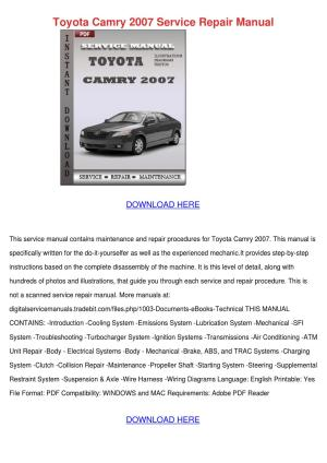 Toyota Camry 2007 Service Repair Manual by IonaGladden  Issuu