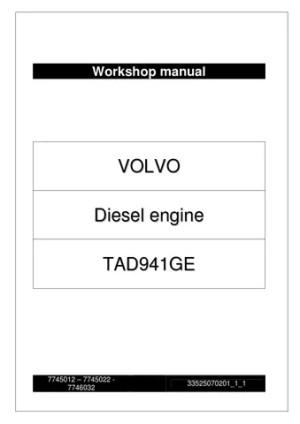 WORKSHOP MANUAL VOLVO TAD941GE Engine by Power Generation  Issuu