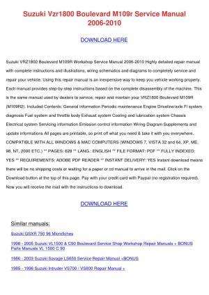 Suzuki Vzr1800 Boulevard M109r Service Manual by