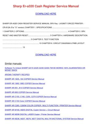Sharp Er A320 Cash Register Service Manual by TommyScarbrough  Issuu