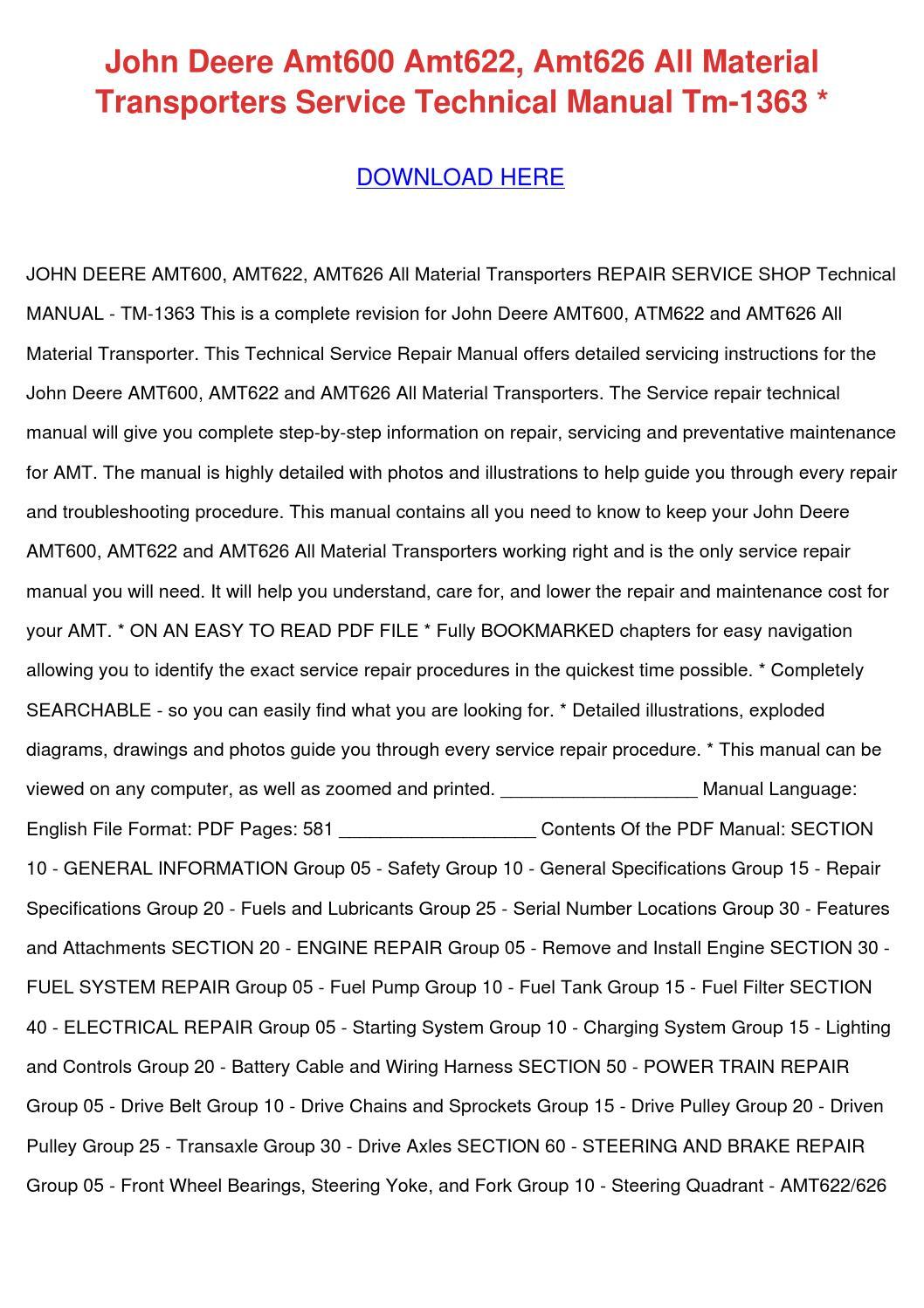John Deere Amt 626 Manual 600 Wiring Diagram