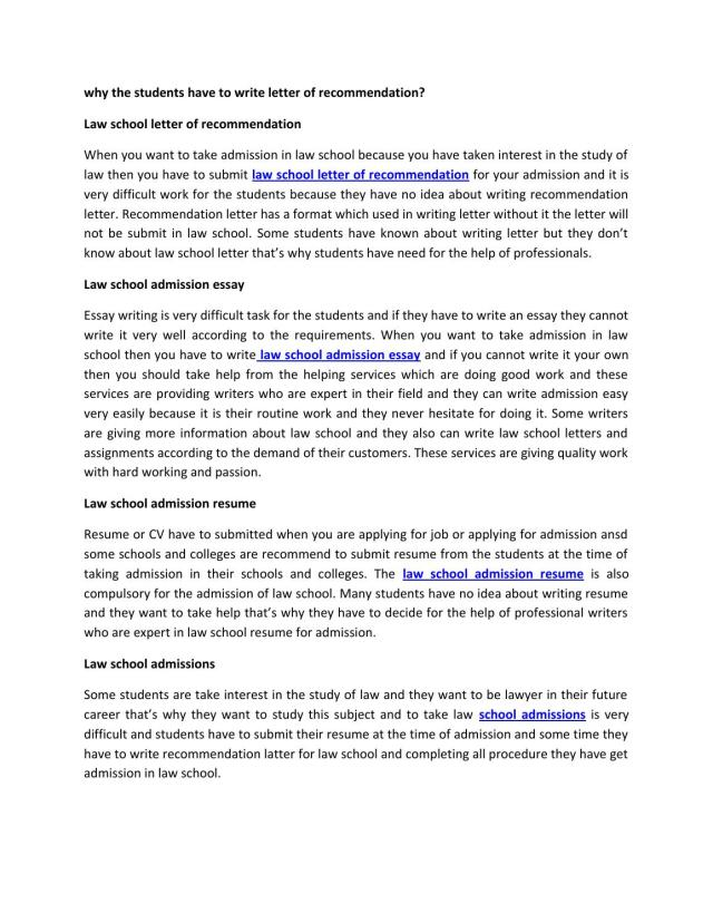 Why the students have to write letter of recommendation 27 by
