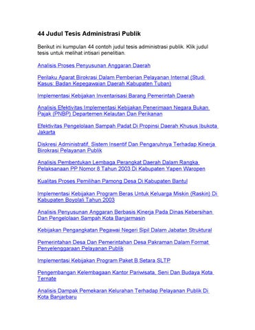 16 Contoh Judul Makalah Administrasi Negara