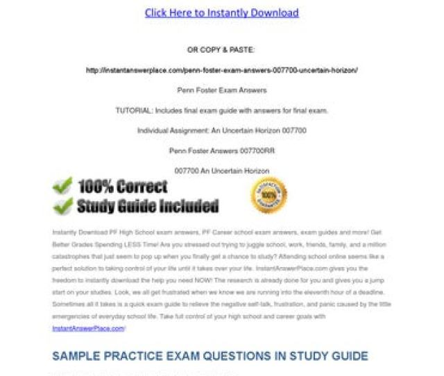 Penn Foster Exam Answers 007700 An Uncertain Horizon Click Here To Instantly Download Or Copy Paste