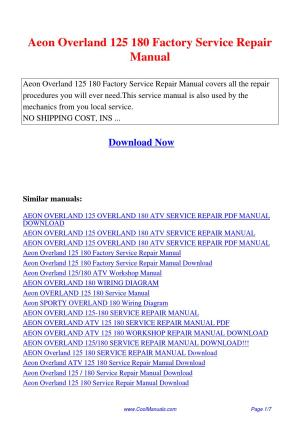 Aeon Overland 125 180 Factory Service Repair Manualpdf by