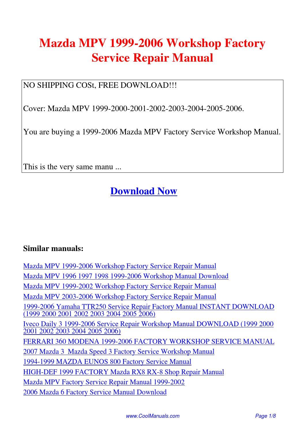 2005 mazda mpv manual