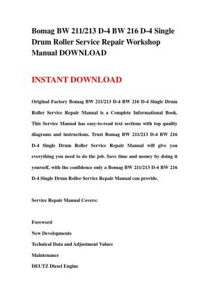 Bomag bw 211213 d 4 bw 216 d 4 single drum roller service repair workshop manual download by