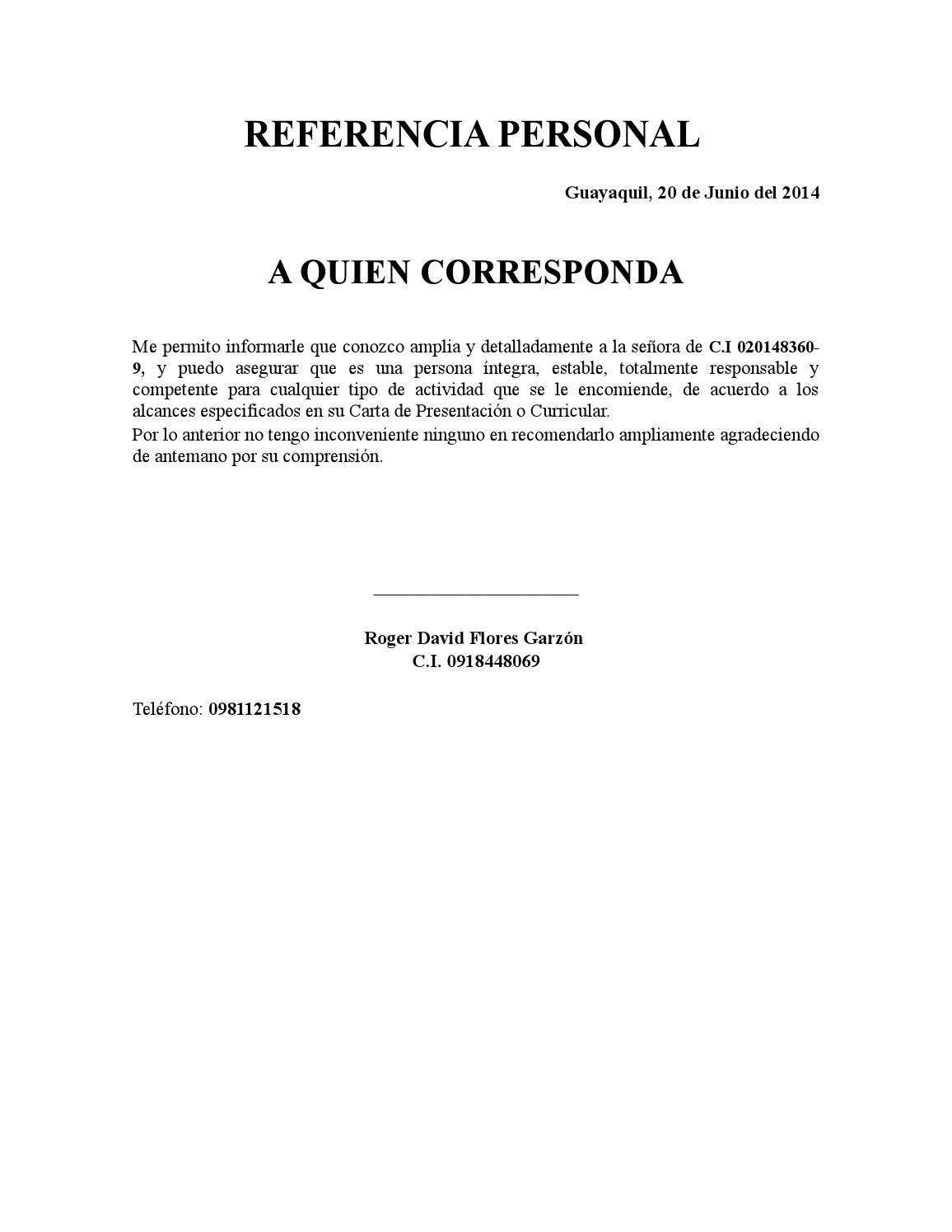 Excelente Reanudar La Carta De Referencia Comercial Ornamento ...