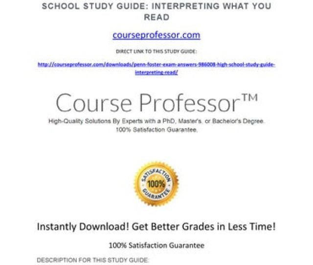 Penn Foster Exam Answers 986008 High School Study Guide Interpreting What You Read