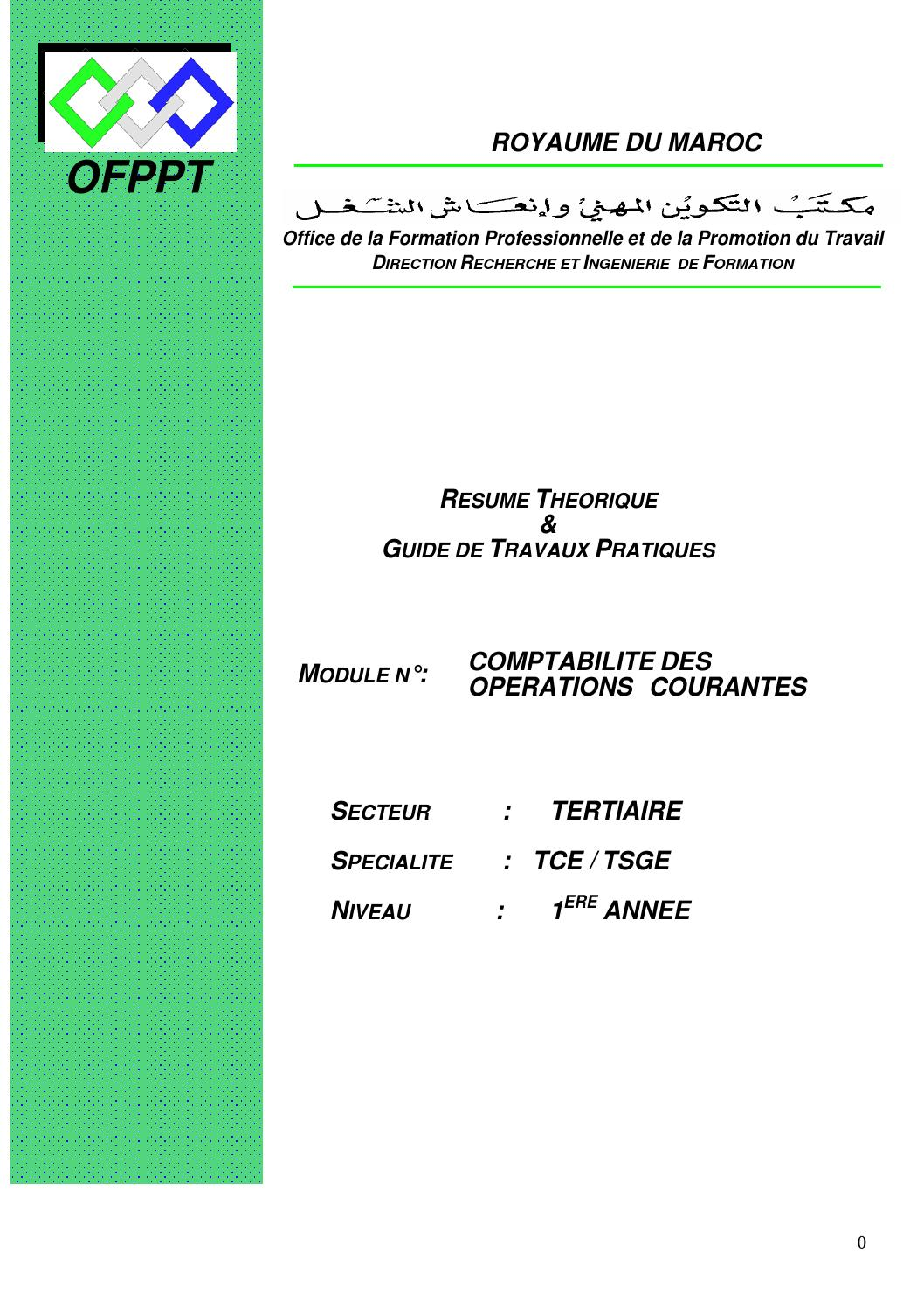 Module 08 Tsge Comptabilit Des Oprations Courantes Et
