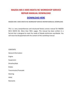 Mazda mx 5 mx5 miata nc workshop service repair manual download by suzettespoonerowqbdt  Issuu