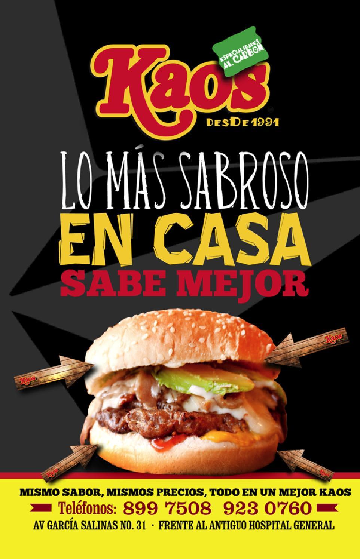 Menu Kaos 2014 By Kaos Zacatecas Issuu