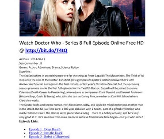 Watch Doctor Who Series 8 Full Episode Online Free Hd Bit Do T4tq Air Date  Season Number 8 Genre Action Adventure Drama
