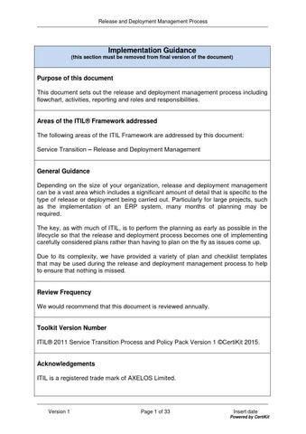 Itilst0402 Release And Deployment Management Process By