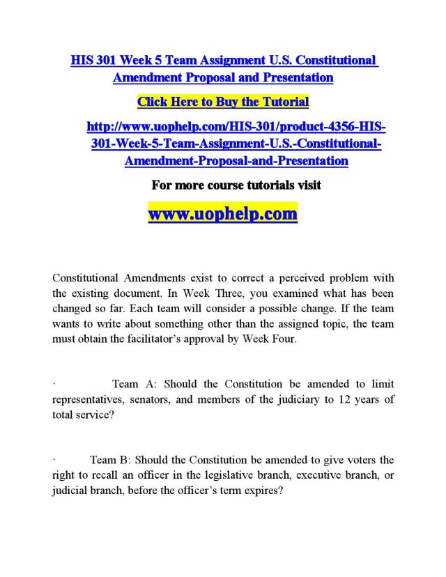 His 29 week 29 team assignment u s constitutional amendment