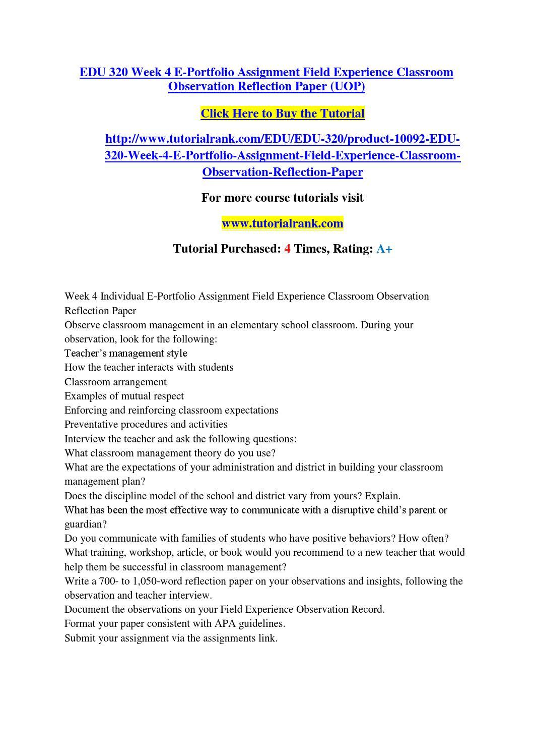 observation reflection paper