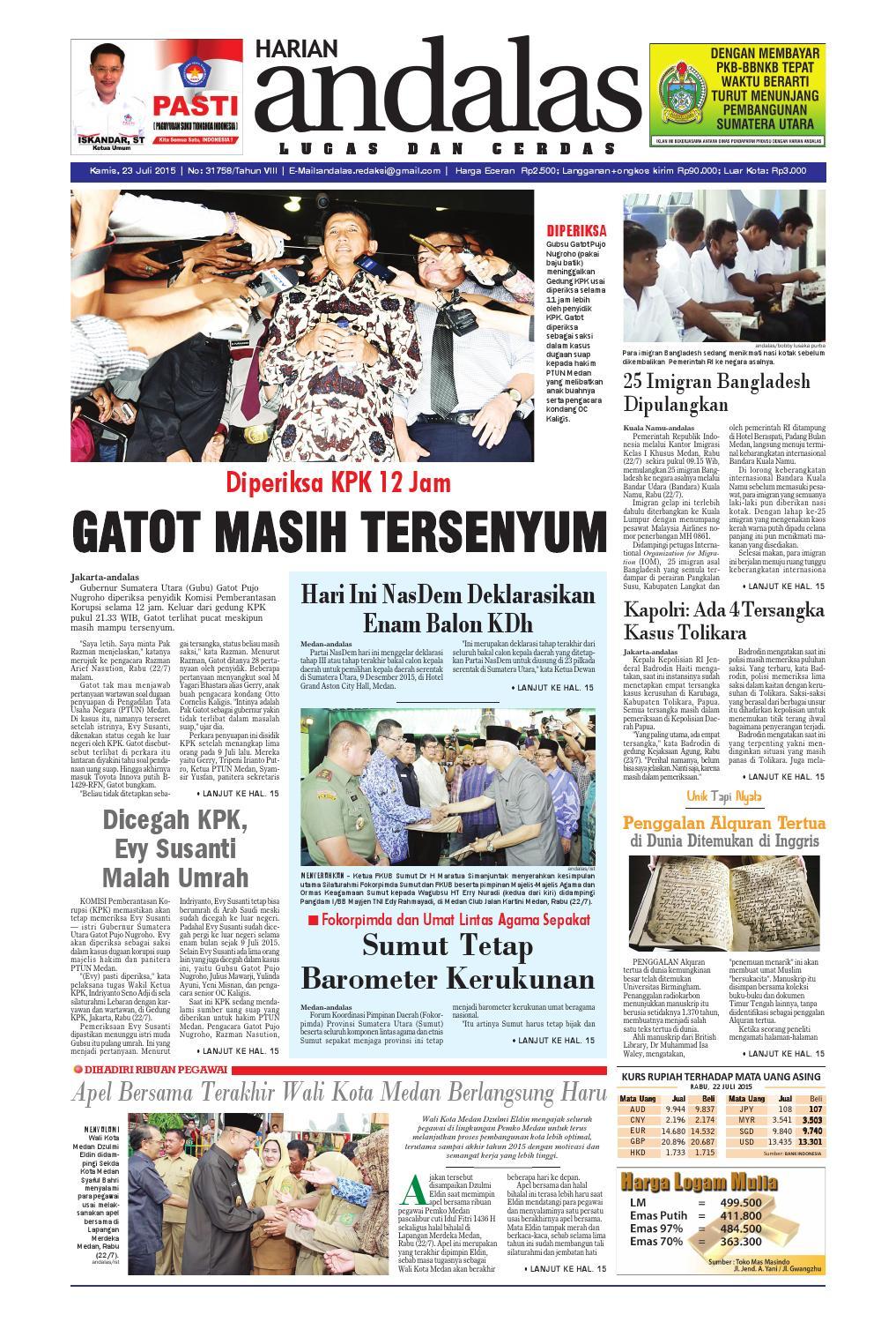 Epaper Andalas Edisi Kamis 23 Juli 2015 By Media Andalas Issuu