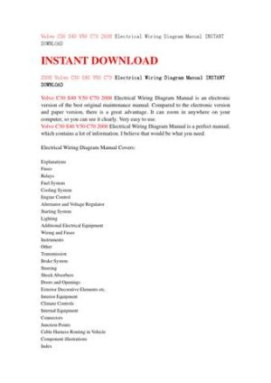 Volvo c30 s40 v50 c70 2008 electrical wiring diagram manual instant download by kfsmef78  Issuu