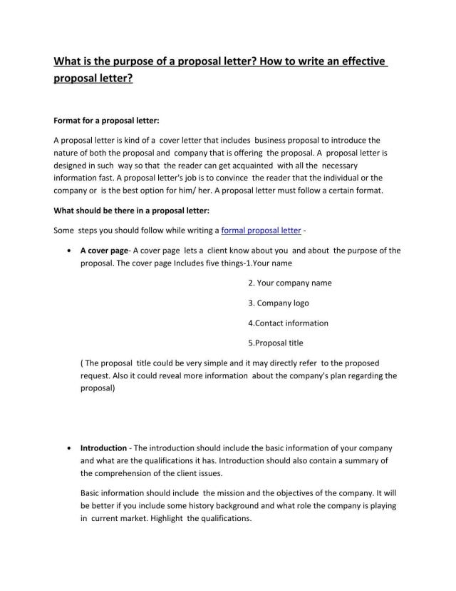 What is the purpose of a proposal letter? How to write an