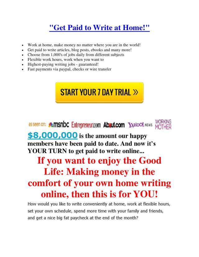 Writing jobs how to get paid to write online freelance writers