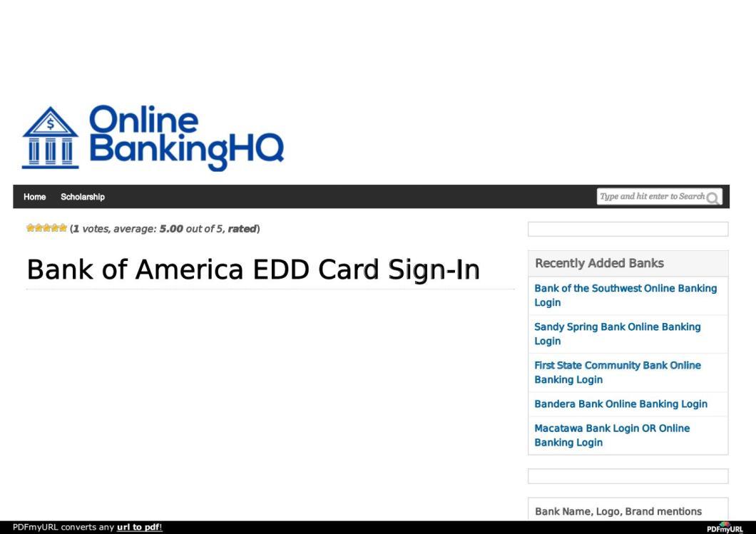 bank of america edd card login | Cardjdi org