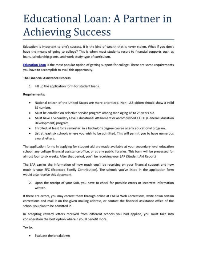 Educational loan a partner in achieving success by Disha - issuu