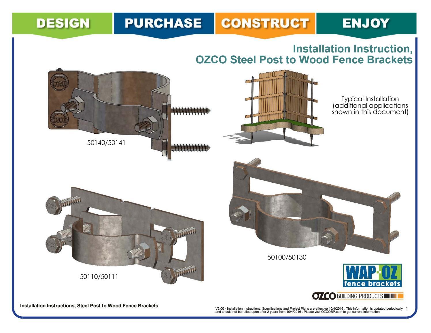 Installation Instructions Fence Brackets 50110 Wap Oz 50140 Wap 238 90 50100 Wap 238 By Ozco Building Products Issuu