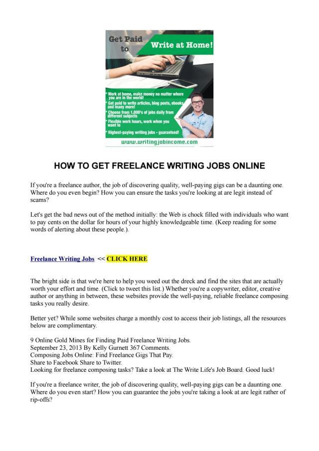 HOW TO GET FREELANCE WRITING JOBS ONLINE by akellajustus - issuu