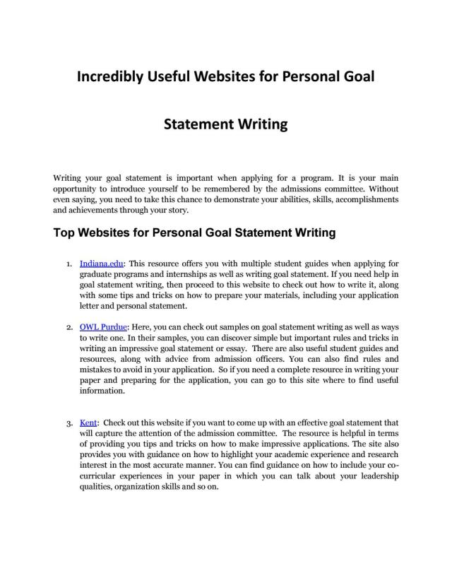 Personal Goal Statement Writing Resources Every Student Needs by